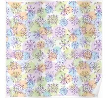 pattern with purple snowflakes on light background Poster