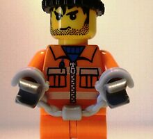 City Convict Prisoner Minifig Minifigure with Handcuffs by Customize My Minifig