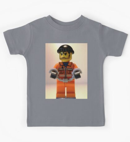 City Convict Prisoner Minifig Minifigure with Handcuffs Kids Tee