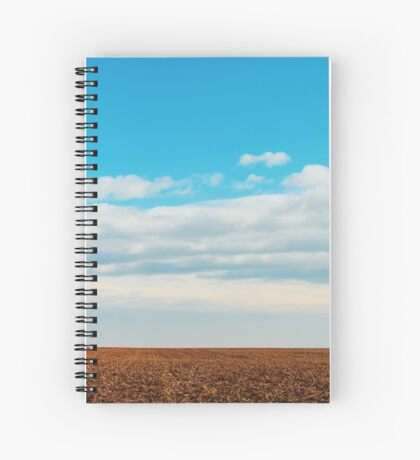Cloudy Sky Over Harvested Land In Autumn Spiral Notebook