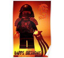 Happy Birthday Greeting Card TMNT Teenage Mutant Ninja Turtles Master Shredder Custom Minifig Poster