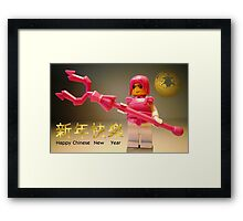 Happy Chinese New Year Greeting Card Framed Print