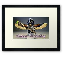 Happy Birthday Greeting Card, with Flying Mummy Minifig (with Custom Staff) Framed Print