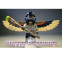 Happy Birthday Greeting Card, with Flying Mummy Minifig (with Custom Staff) Photographic Print