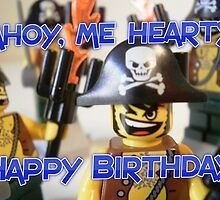 """Happy Birthday"" Pirate Captain Birthday Greeting Card by Customize My Minifig"