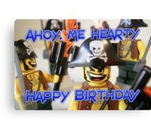 """Happy Birthday"" Pirate Captain Birthday Greeting Card Canvas Print"