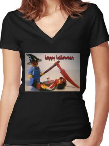 """""""Happy Halloween"""" Custom Halloween Scarecrow Minifig Women's Fitted V-Neck T-Shirt"""