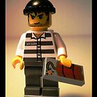 Convict Prisoner City Minifigure with Dynamite Tile by Customize My Minifig