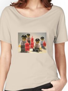 Convict Prisoner City Minifigure with Dynamite Sticks Women's Relaxed Fit T-Shirt
