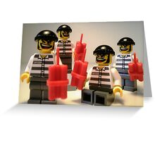 Convict Prisoner City Minifigure with Dynamite Sticks Greeting Card