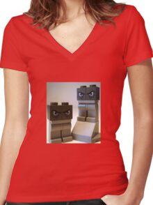 Evil Weird Head Monster Women's Fitted V-Neck T-Shirt