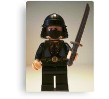 Black Japanese Samurai Warrior Minifigure / TMNT Shredder Custom Minifig Canvas Print