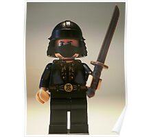 Black Japanese Samurai Warrior Minifigure / TMNT Shredder Custom Minifig Poster