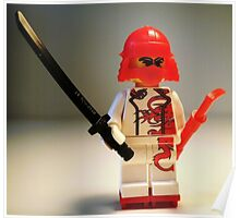 Red Dragon Japanese Samurai Warrior Custom Minifig Poster
