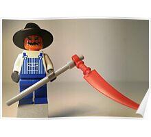 Halloween Scarecrow with Scythe, Custom Minifig Poster