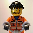 Convict Prisoner Minifig Minifigure with Handcuffs by Customize My Minifig