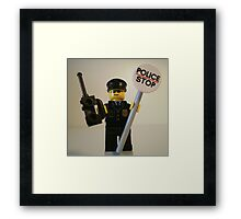 Classic Police Patrol Man Minifigure with Police Stop Sign Framed Print