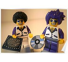 DJ Clubbing Tru and his Dad Disco Stu (with CD and Record) Minifigs, by 'Customize My Minifig' Poster