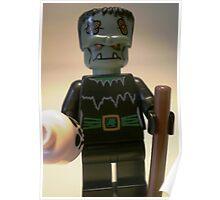 Frankensteins Monster Custom Minifigure with Skull Poster