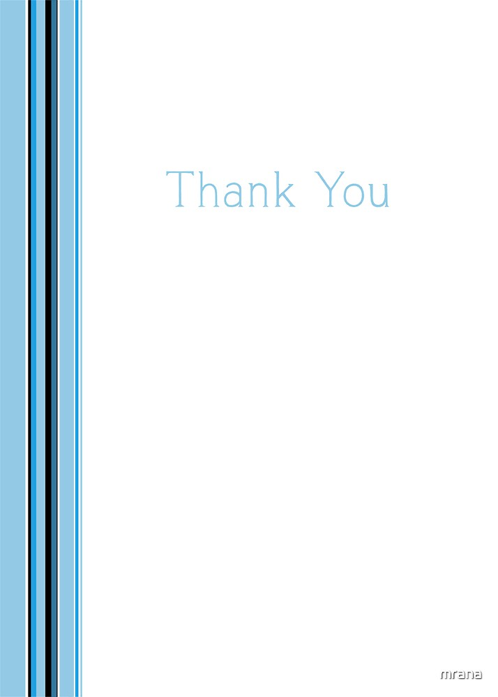 Blue Stripe Thank You by Mariana Musa