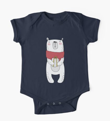 Christmas bear with gift One Piece - Short Sleeve