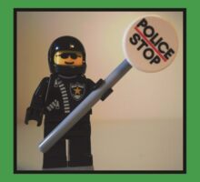 Classic Police Motorcycle Man Cop Minifigure & Police Stop Sign Kids Clothes