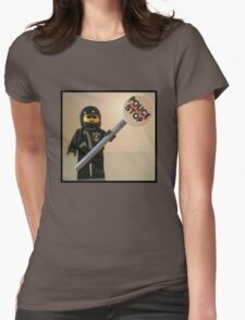 Classic Police Motorcycle Man Cop Minifigure & Police Stop Sign Womens Fitted T-Shirt