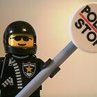Classic Police Motorcycle Man Cop Minifigure & Police Stop Sign by Customize My Minifig