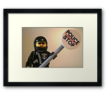 Classic Police Motorcycle Man Cop Minifigure & Police Stop Sign Framed Print