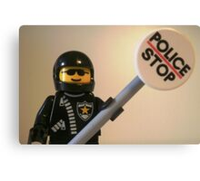 Classic Police Motorcycle Man Cop Minifigure & Police Stop Sign Canvas Print