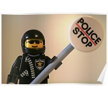 Classic Police Motorcycle Man Cop Minifigure & Police Stop Sign Poster