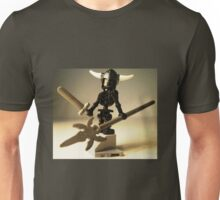 Black Skeleton Custom Minifigure with Viking Helmet and Warrior Weapons Unisex T-Shirt