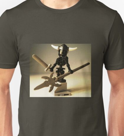 Black Skeleton Custom Minifigure with Viking Helmet and Warrior Weapons Unisex T-Shirt