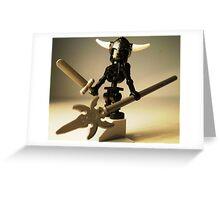 Black Skeleton Custom Minifigure with Viking Helmet and Warrior Weapons Greeting Card