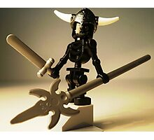 Black Skeleton Custom Minifigure with Viking Helmet and Warrior Weapons Photographic Print