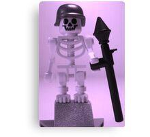 Skeleton Zombie Soldier with Custom Minifigure Helmet and baooka Canvas Print