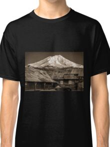 Aged Mt. Shasta behind an old building at the Mill in McCloud California Classic T-Shirt