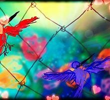 Humming birds going thur fence by Anna  Lewis
