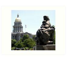 Denver Capitol Building & Fountain Art Print