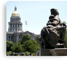 Denver Capitol Building & Fountain Canvas Print