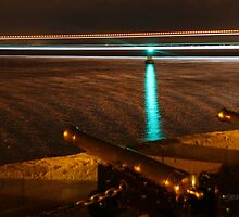 Red Jet 3 passing the Royal Yacht Squadron at Night by Jonathan Cox