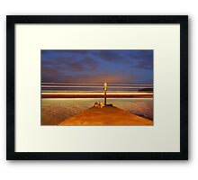 Red Jet 4 leaving Cowes at Night Framed Print