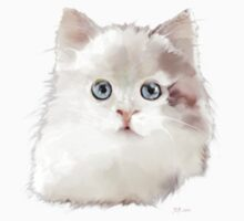 White Kitten with Large Blue Eyes Kids Clothes