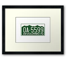 Vanishing Point License Plate Framed Print