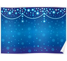 Merry Christmas blue light background Poster