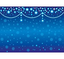 Merry Christmas blue light background Photographic Print