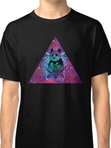 Black Panda in watercolor space background Classic T-Shirt