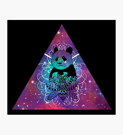 Black Panda in watercolor space background Photographic Print