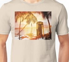 Vintage telephone booth yellow glow Unisex T-Shirt