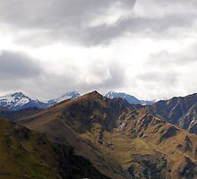 Panorama of mountain range near Coronet Peak, NZ by Ben Ng